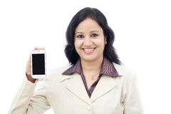 Business woman showing with black display of mobile phone Royalty Free Stock Photo