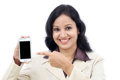 Business woman showing with black display of mobile Stock Image