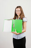 Business woman showing blank area Royalty Free Stock Image