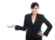 Business woman showing blank area Royalty Free Stock Photo