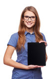 Business woman showing blank black digital tablet computer screen Royalty Free Stock Photo