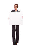 Business woman showing a blank board Royalty Free Stock Image