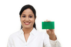 Business woman showing blank business card Stock Photo