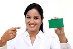 Business woman showing blank business card Royalty Free Stock Images