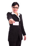 Business woman showing a blank card Stock Photography