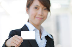 Business woman showing blank card Stock Photography