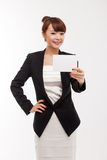 Business woman showing blank card. Royalty Free Stock Photos