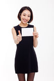 Business woman showing blank card. Stock Photo
