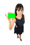 Business woman showing blank card sign stock image