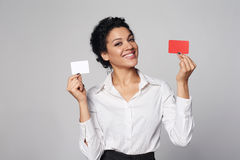 Business woman showing blank credit card Stock Photos