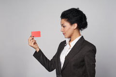 Business woman showing blank credit card Royalty Free Stock Photography