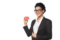 Business woman showing blank credit card Royalty Free Stock Photo