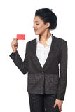 Business woman showing blank credit card Royalty Free Stock Photos