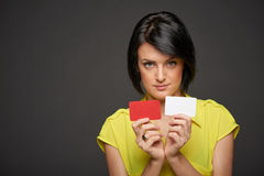 Business woman showing blank credit cards Royalty Free Stock Image