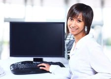 Business woman showing blank display Stock Images