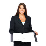 Business woman showing blank notebook Royalty Free Stock Photography