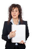 Business woman showing a blank sheet Royalty Free Stock Images