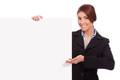 Business woman showing blank signboard Royalty Free Stock Photo