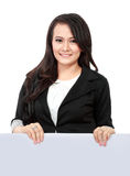 Business woman showing blank signboard Royalty Free Stock Image