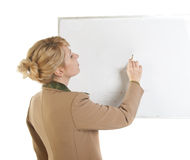 Business woman showing blank signboard. Royalty Free Stock Photos