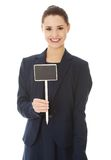 Business woman showing blank signboard Royalty Free Stock Photos