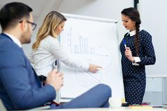 Business woman showing a business team information on the flip chart Royalty Free Stock Photos