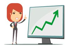 Business woman showing a chart business growth Royalty Free Stock Images