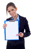 Business Woman Showing Clipboard Royalty Free Stock Photography
