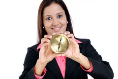 Business woman showing compass Stock Image