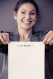 Business woman showing contract Stock Images