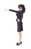 Business woman showing copy space by finger Stock Image