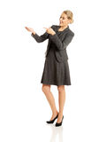 Business woman showing copy space on the left Stock Photo