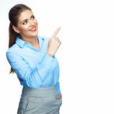 Business woman showing on copyspace. Isolated white Royalty Free Stock Photography