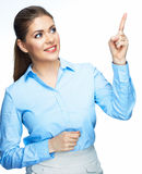 Business woman showing on copyspace. Isolated white Stock Photography