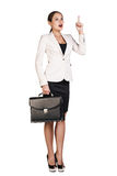 Business woman showing a copyspace Royalty Free Stock Photography