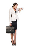 Business woman showing a copyspace Stock Photography