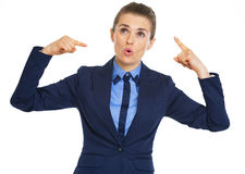 Business woman showing crazy gesture. High-resolution photo Stock Photos
