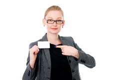 Business woman showing a credit card Stock Images
