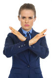 Business woman showing denied gesture Stock Image