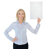 Business woman showing empty paper Stock Photography