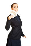 Business woman showing euro currency money. Stock Images