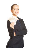 Business woman showing euro currency money. Stock Photos