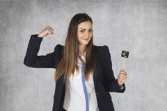 Business woman showing the euro currency is strong. Businesswoman showing the euro currency is strong Royalty Free Stock Photos