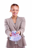 Business woman showing Euro notes copyspace Stock Photos
