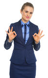 Business woman showing everything will be ok Royalty Free Stock Photography