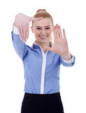 Business woman showing framing hand gesture Stock Image