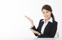 Business woman with  showing gesture Royalty Free Stock Image