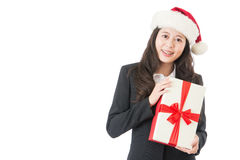 Business woman showing and giving red gift with ribbon Stock Images