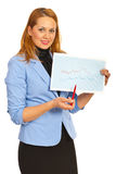 Business woman showing graph Stock Images