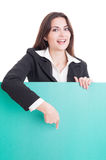 Business woman showing a green empty cardboard Royalty Free Stock Photography